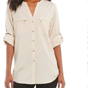 Calvin Klein Cream Blouse with Gold Accents